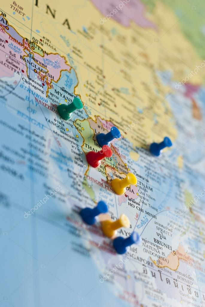 World Map Of Southeast Asia.Worldmap With Colorful Pins On Southeast Asian Countries Stock