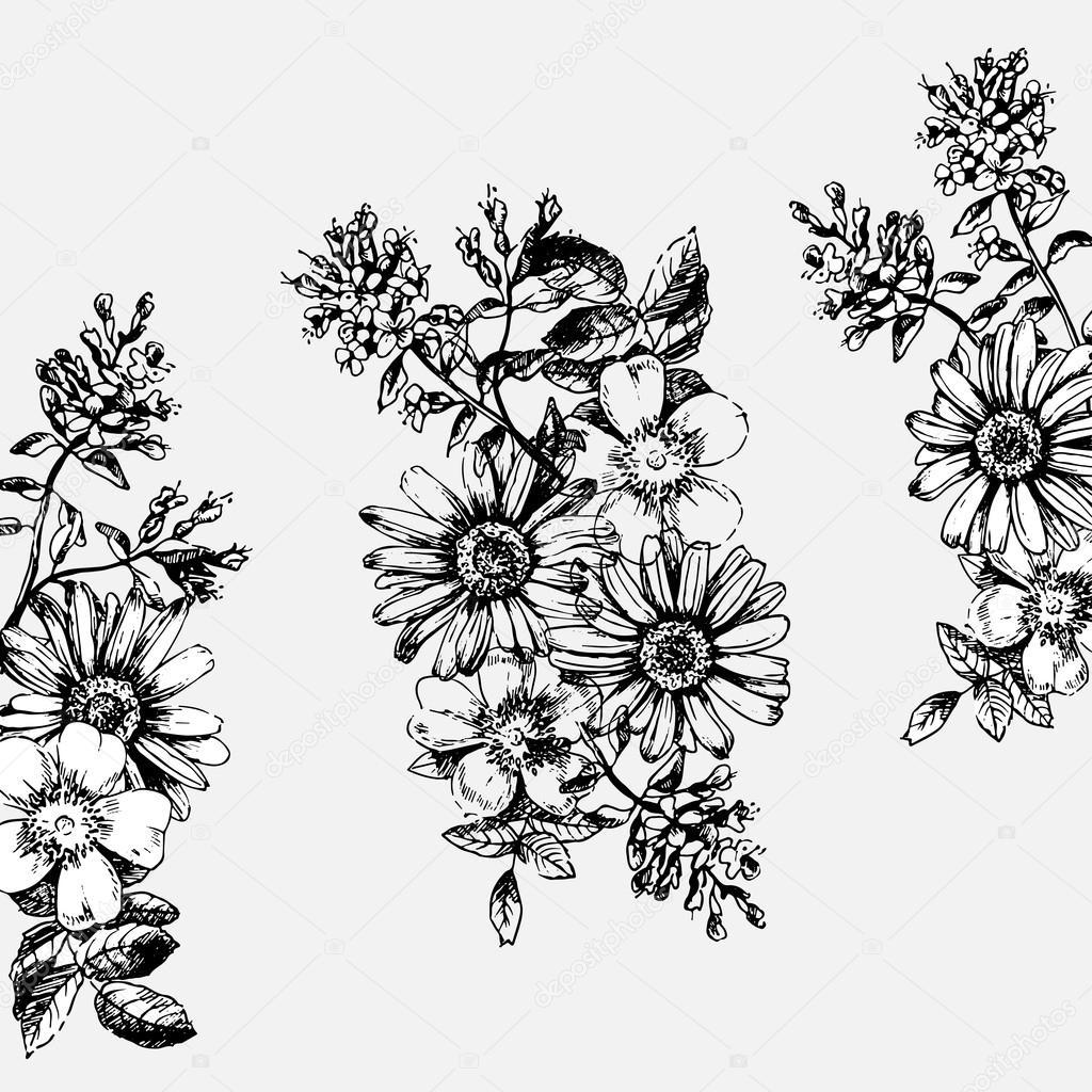 Dessiner Des Fleurs sertie de dessin fleurs — image vectorielle nadyabadya © #92962392