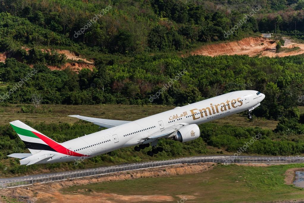 Emirates airways take off at Phuket airport