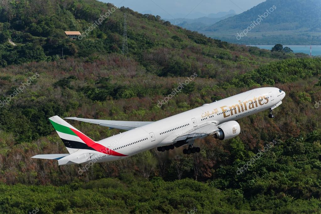 Emirates airways take off at Phuket airport