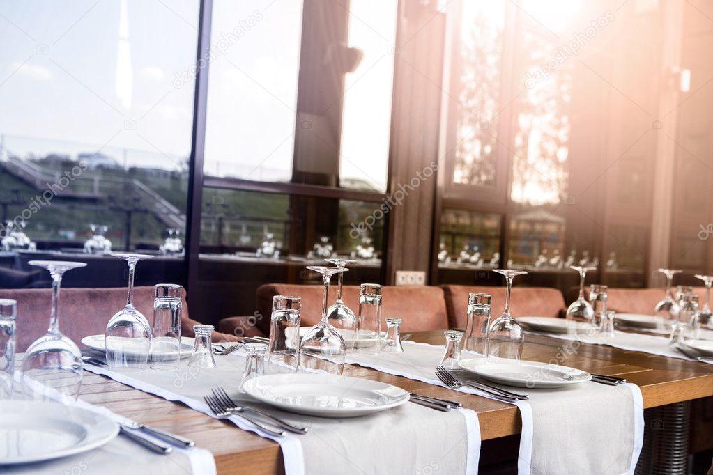 banketzaal prachtig restaurant welke tabel de instelling van de tabel restaurant interieur
