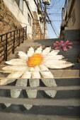 Fényképek Festmény virág kép a nyilvános lépcső