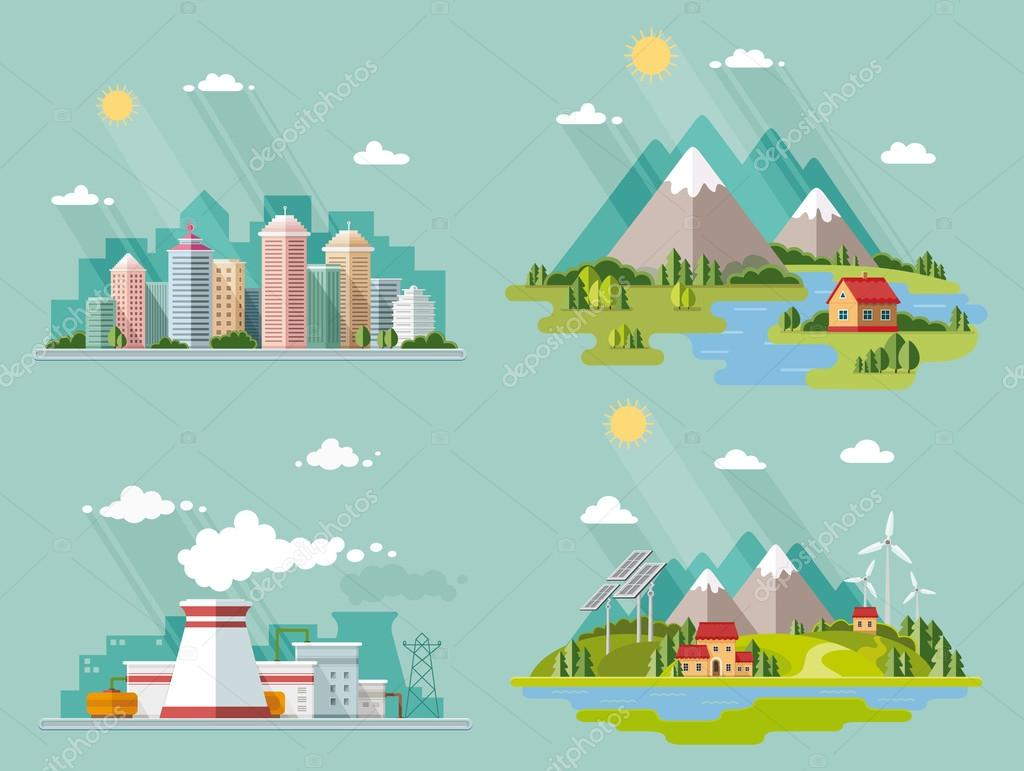 Set of icons of nature for your design. The theme of ecology, in