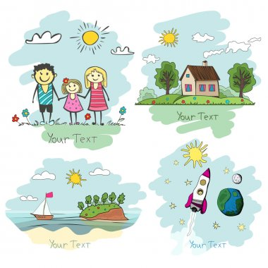 Set of children drawings. happy family, cozy house, ocean land