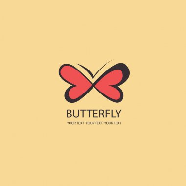 Sweet Butterfly. wings in the shape of hearts. Vector icons patt