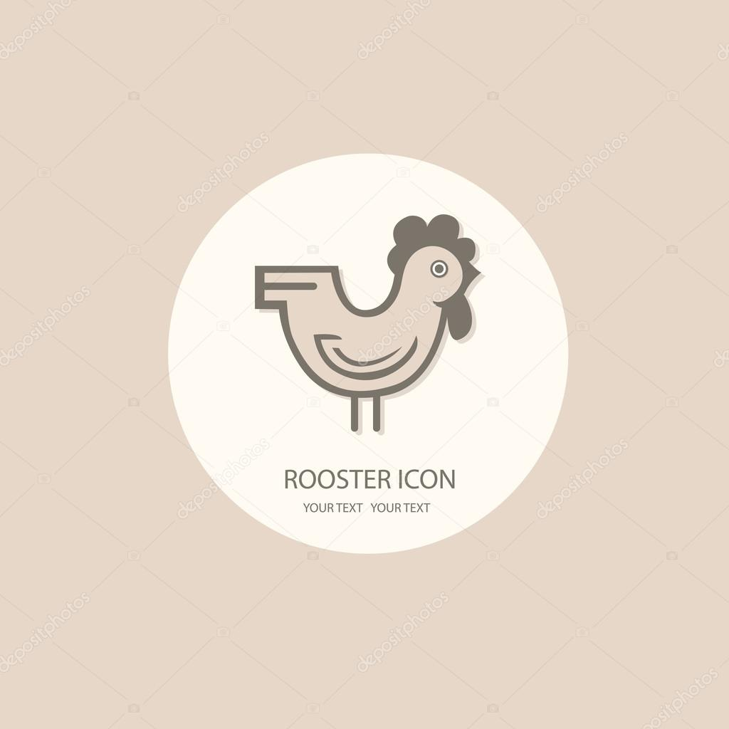 Rooster logo painted in black and white on a white background. S
