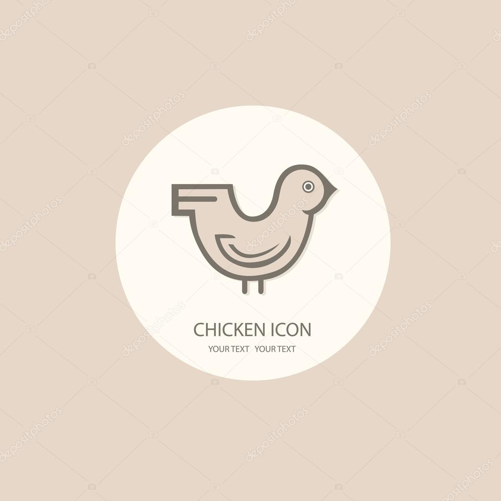 Chicken logo painted in black and white on a white background. S