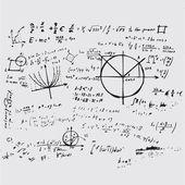 Math education vector with handwritten formulas, tasks, plots, c