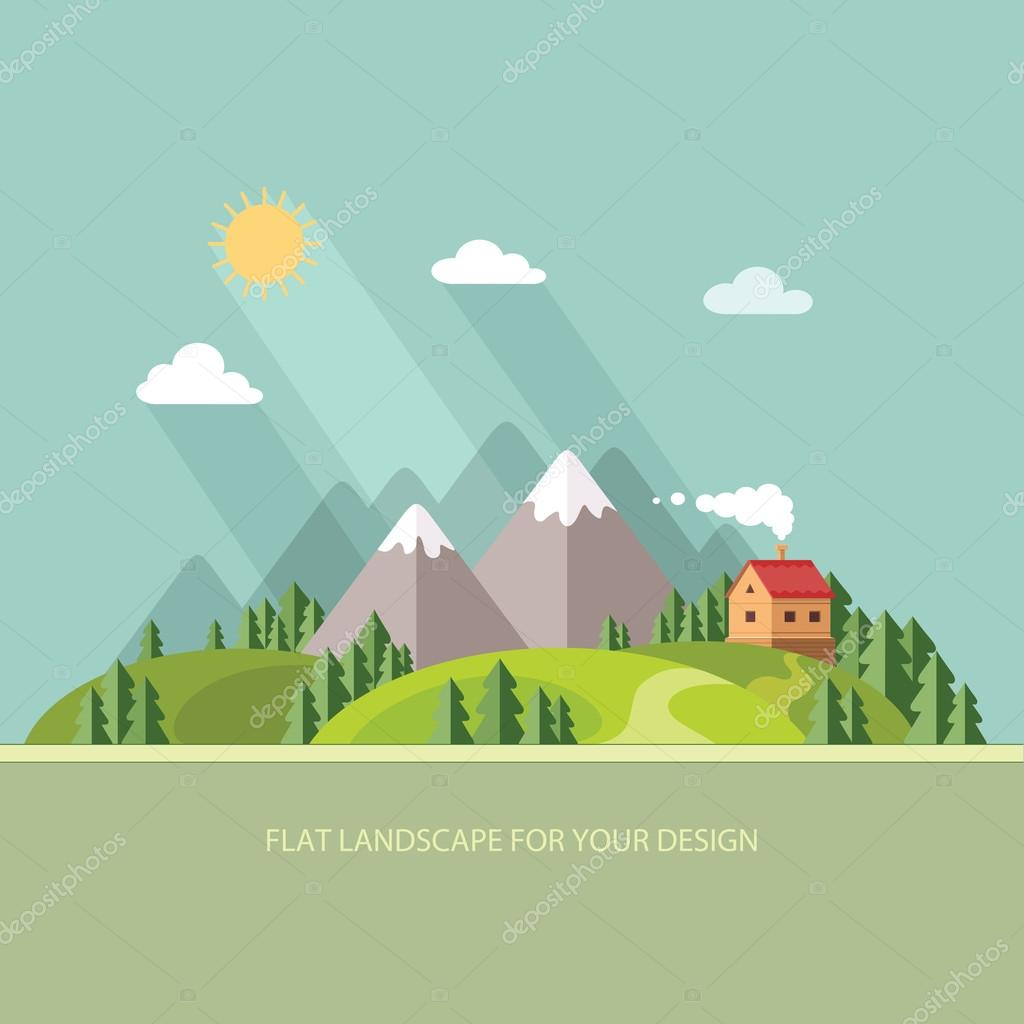 Landscape. Houses in the mountains among the trees. Flat style,