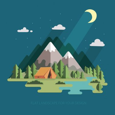 summer landscape. night landscape in the mountains. Solitude in