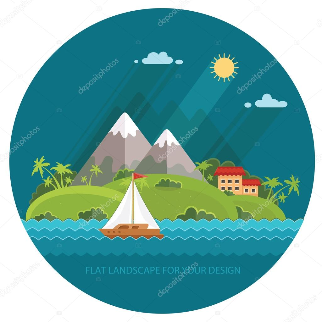 Nature - Color vector flat icon set and illustration summer time