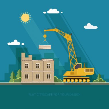 concept of residential house construction process with crane. ba