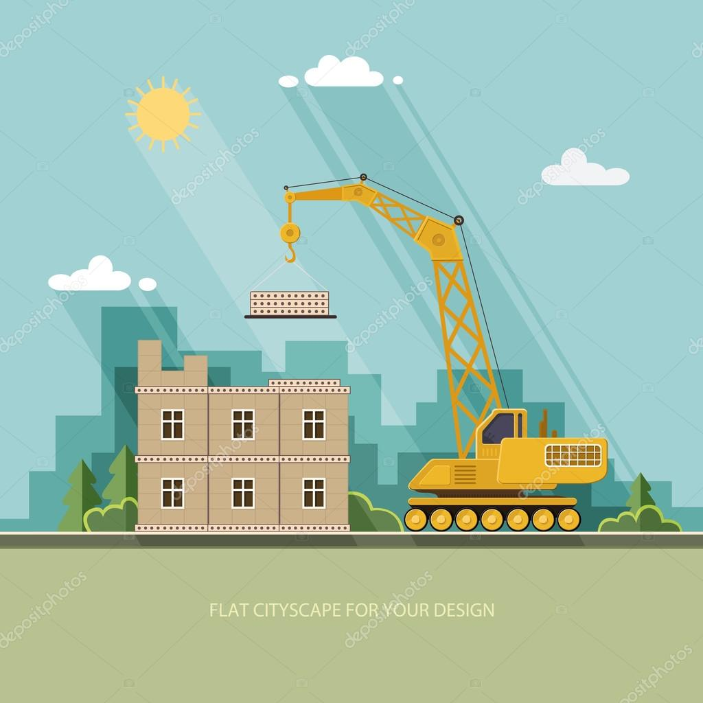 Construction site, building a house. Front apartment house. Flat