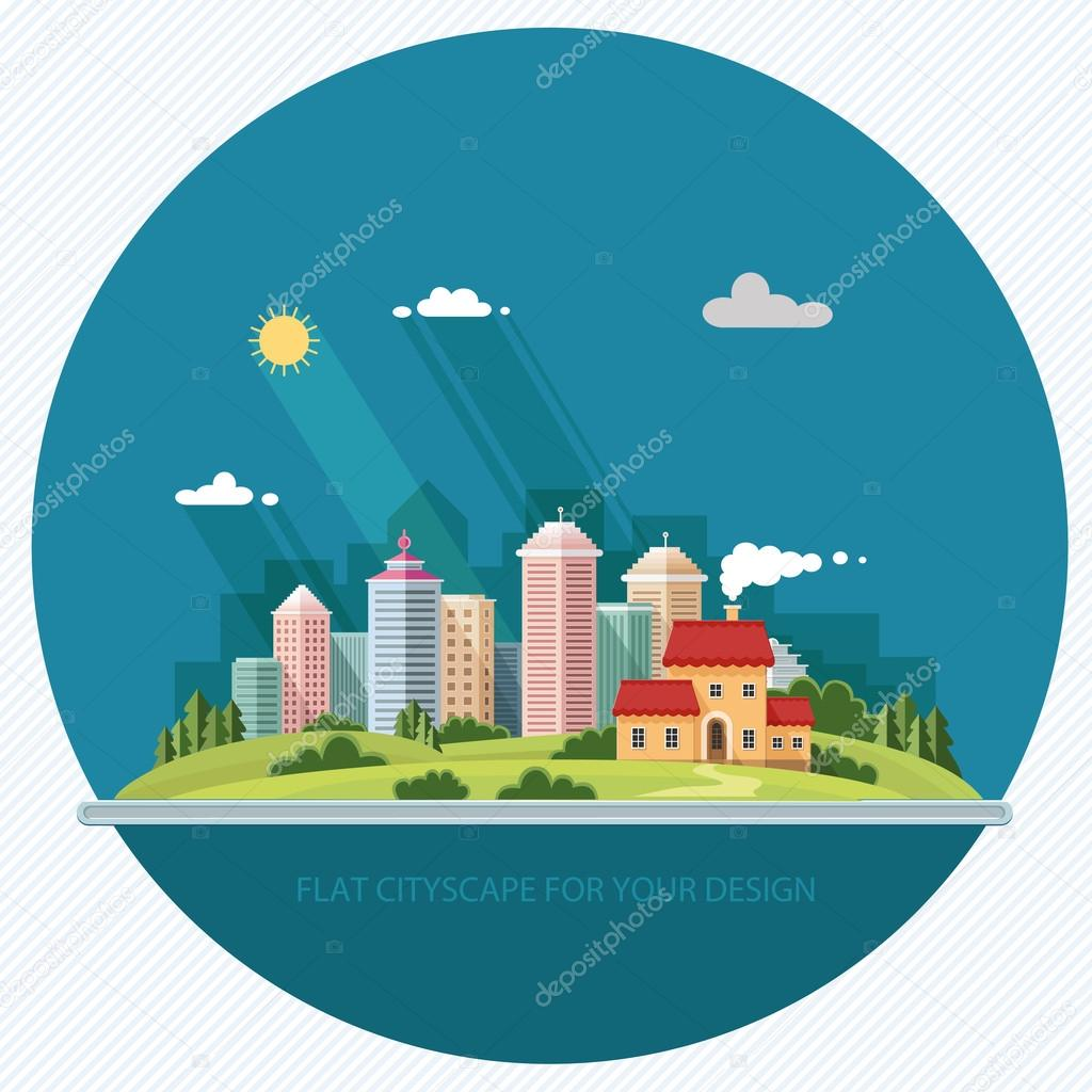 cityscape - summer  Country house on a background of a big city.