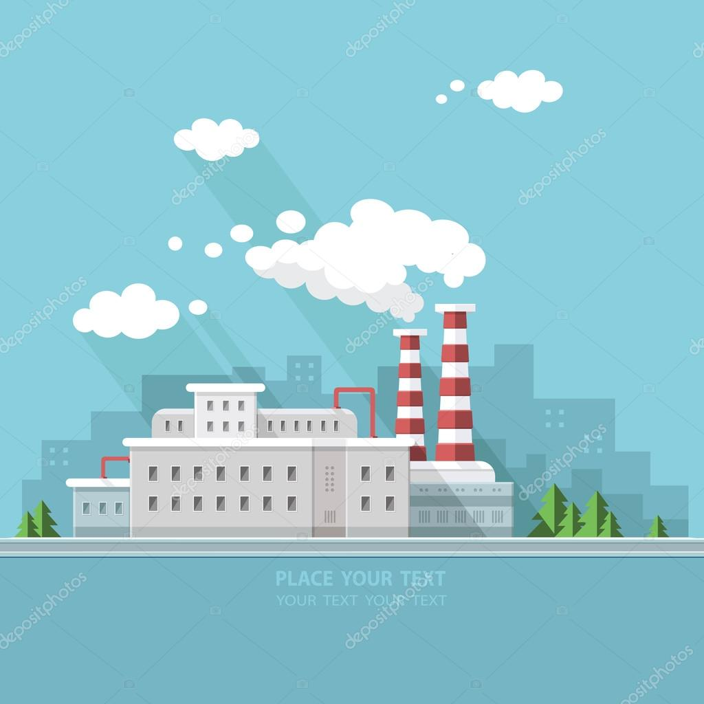 Ecology Concept - industry factory. Flat style vector illustrati