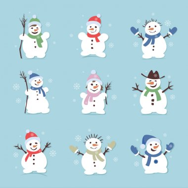 Cute and funny snowmen. Christmas illustrations. Vector set icon