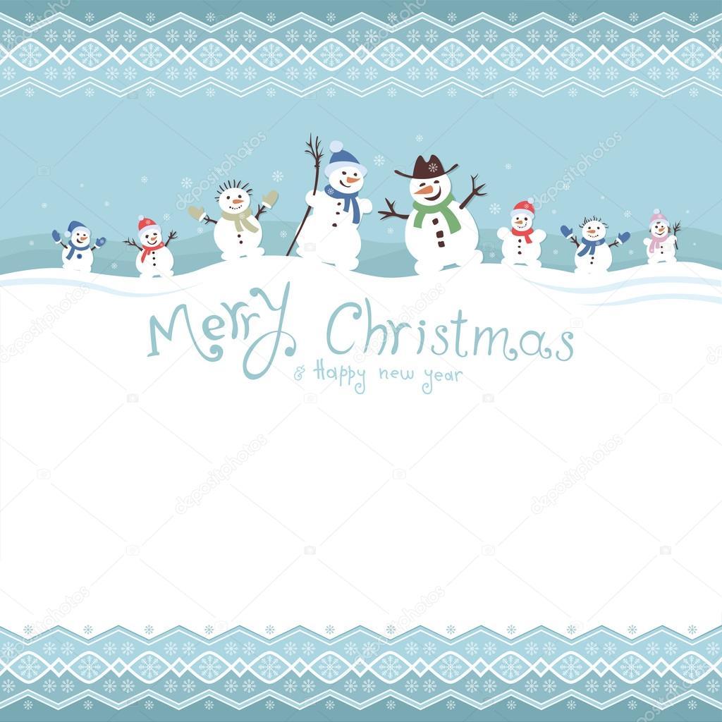 Lindos y divertidos muñecos de nieve. Plantilla tarjetas de Navidad ...