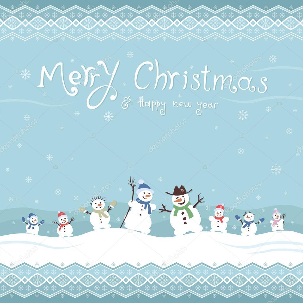 Niedliche und lustige Schneemänner. Weihnachtskarten Vorlage. Vektor ...