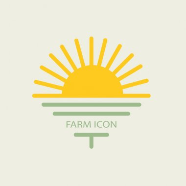 Logo farmhouse, with the sun and golf. flat design for your busi