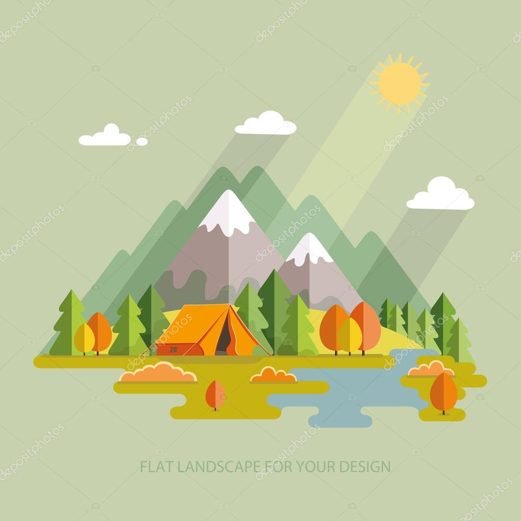 Autumn  landscape. Morning landscape in the mountains. Solitude