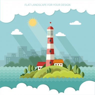 Summer landscape. The lighthouse on the background of the city. Flat design style vector illustration. stock vector