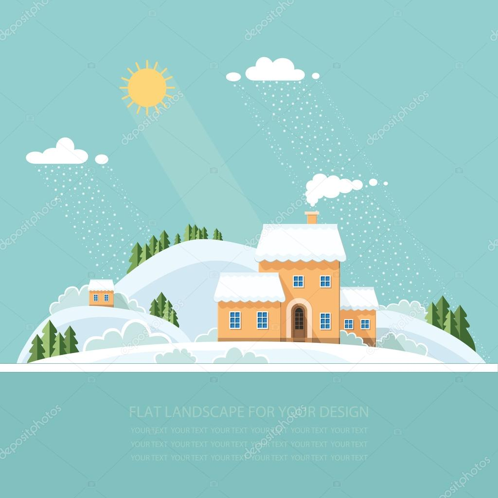 Winter landscape mountains snow-capped hills. flat vector illust