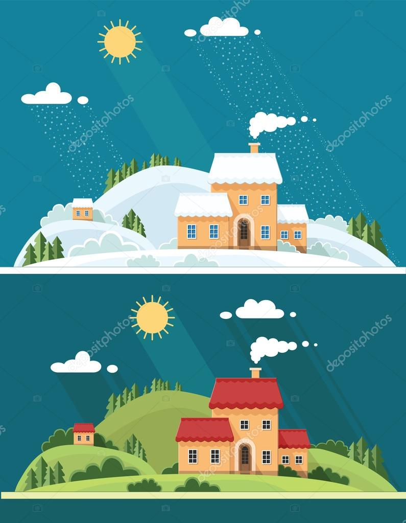 summer and winter landscape. beautiful house on the hill among t