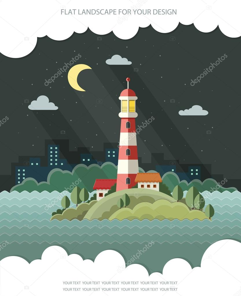 Night landscape. The lighthouse on the background of the city. F