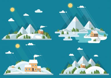 Winter landscape mountains snow-capped hills set icons. flat vec