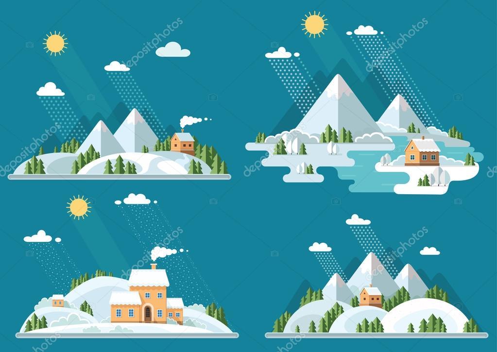 Winter landscape mountains snow-capped hills set icons. flat vec