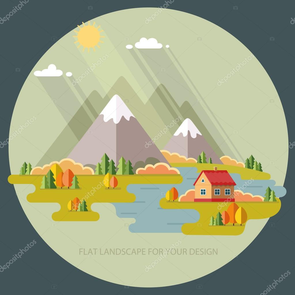 Autumn landscape. Vacation home on a background of mountains. Ve