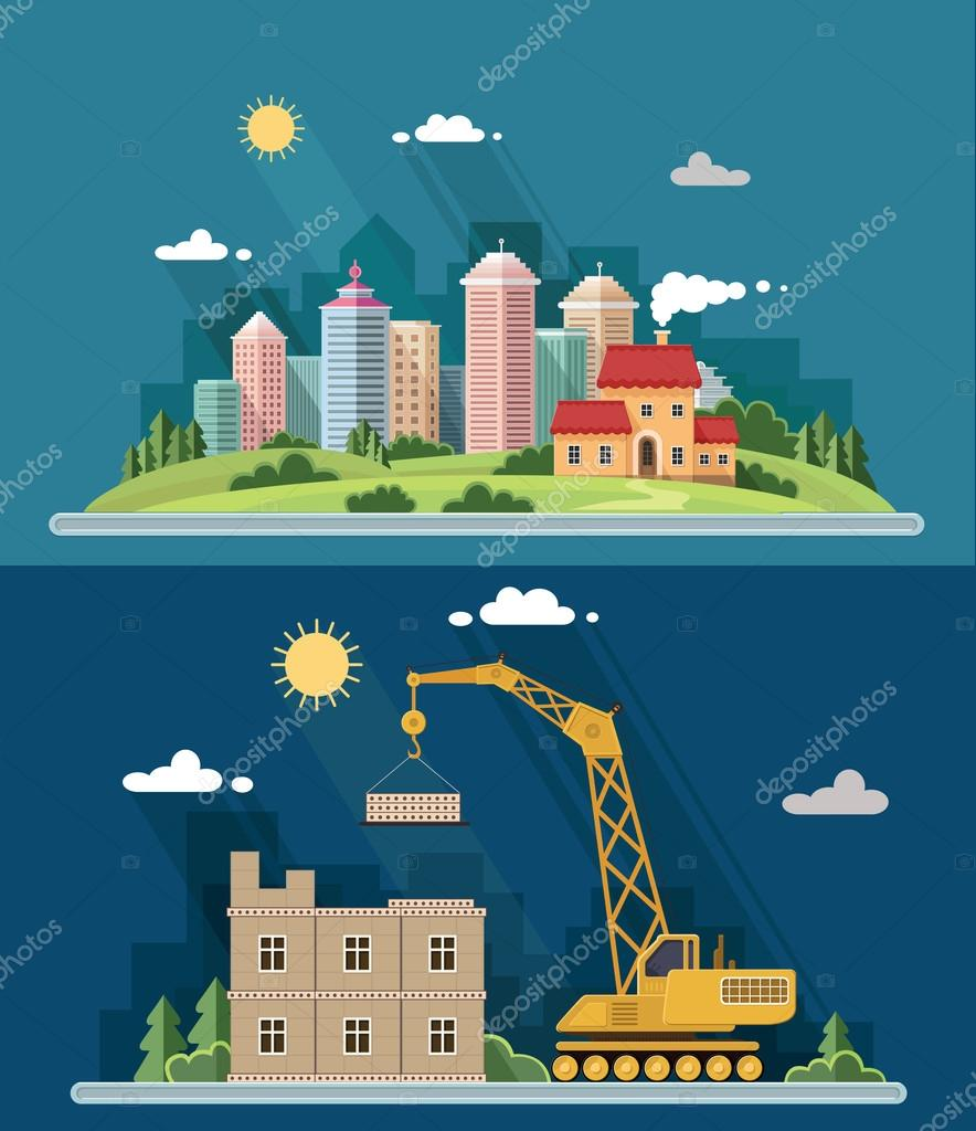Urban landscape illustration set. big city, Construction site, b