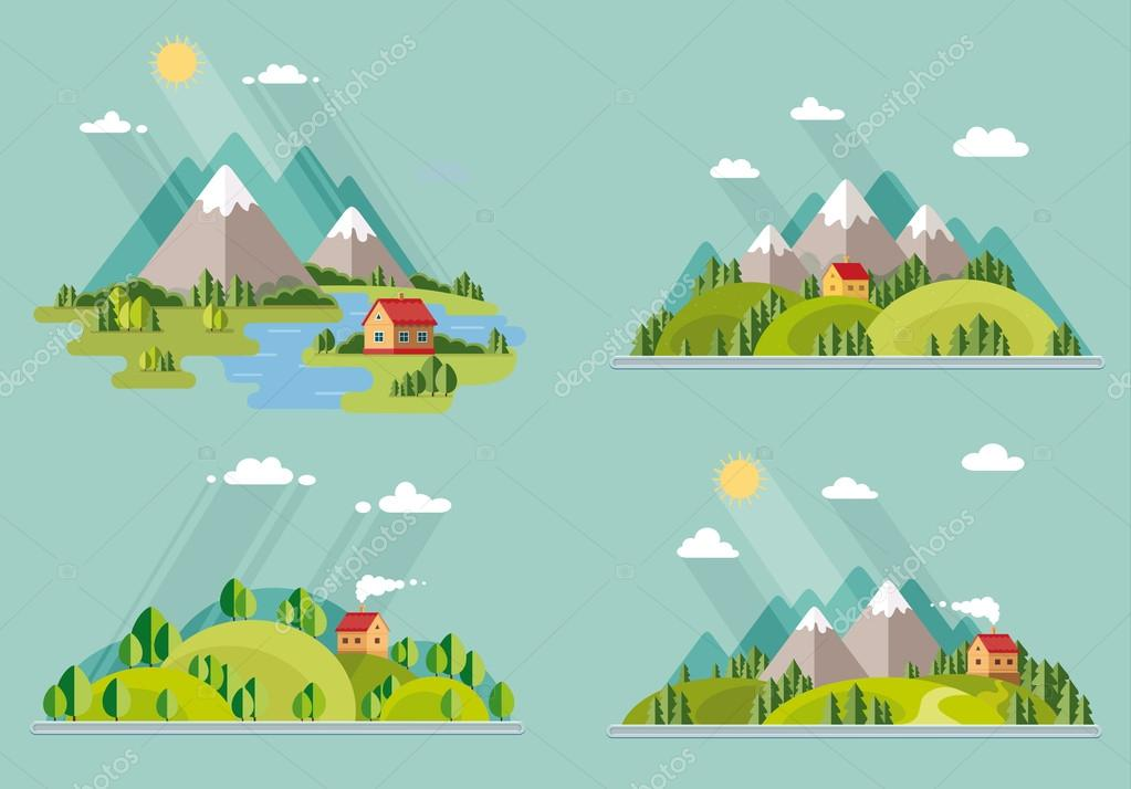 summer  landscape set. Houses in the mountains among the trees,