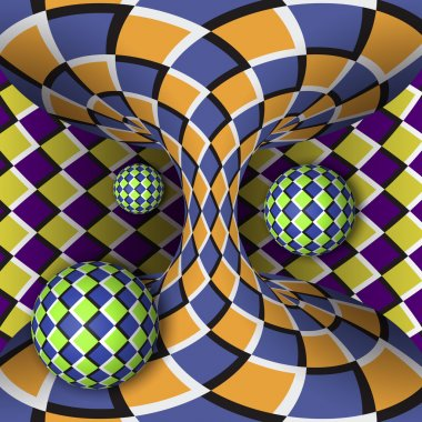 Optical illusion of rotation of three balls around of a moving hyperboloid