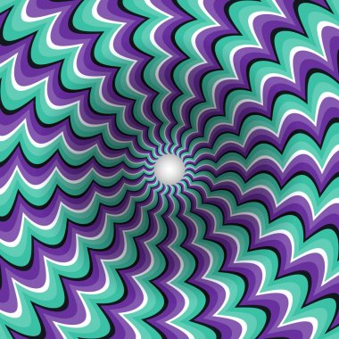 Meandering strips funnel  Optical illusion illustration
