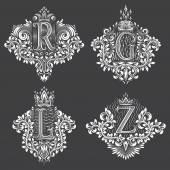 Fotografie Satz von ornamentalen Monogramm in Form von Wappen