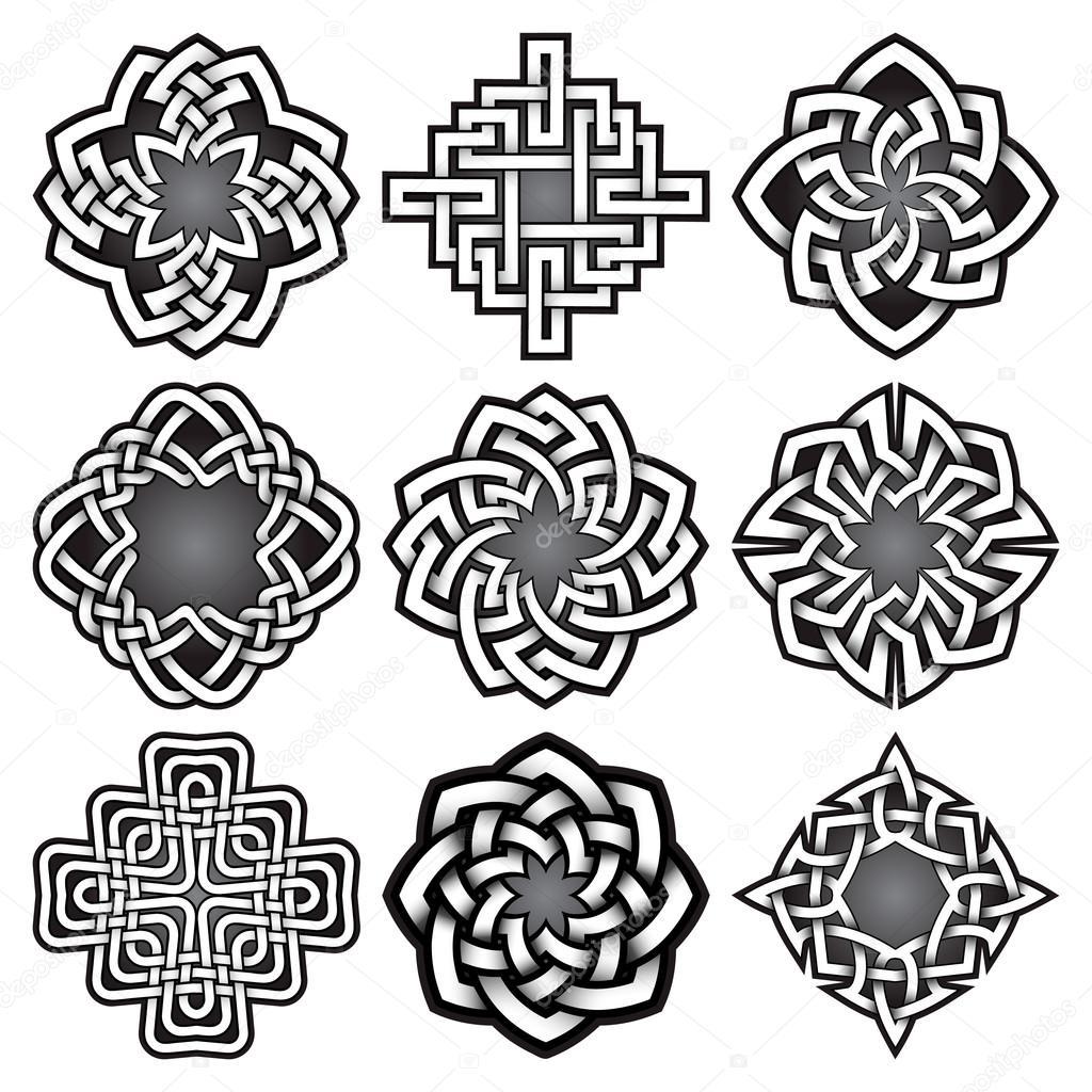 Conjunto de plantillas de logotipo estilo de nudos celtas — Vector ...