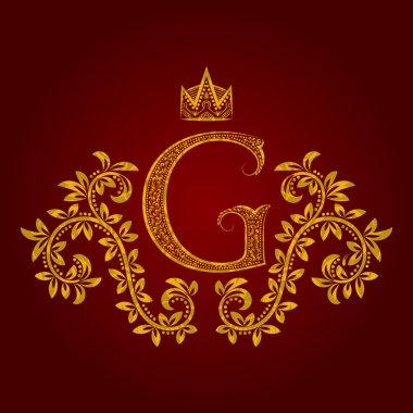 Patterned golden letter G monogram in vintage style