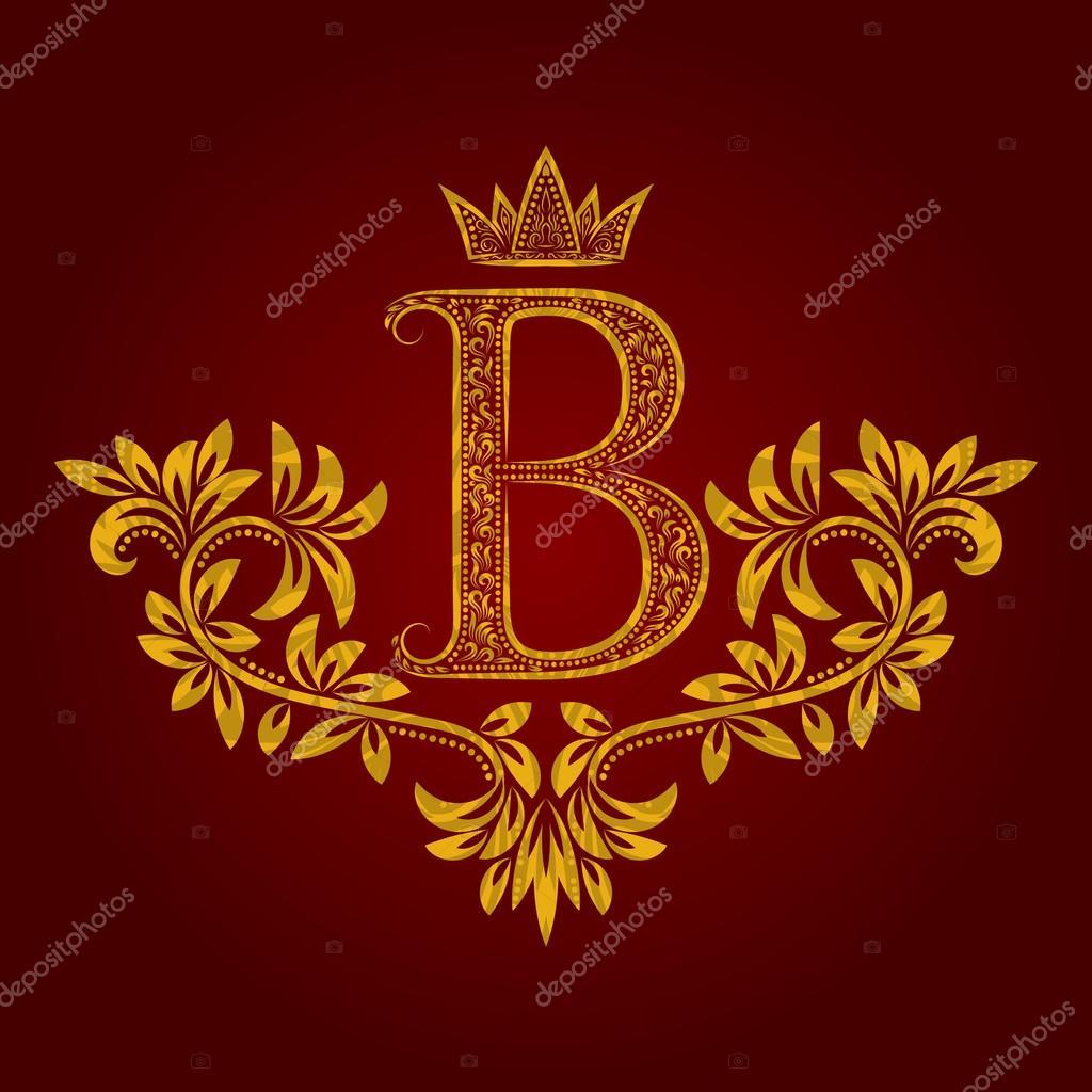 Gemusterte goldenen Buchstaben B Monogramm im Vintage-Stil ...