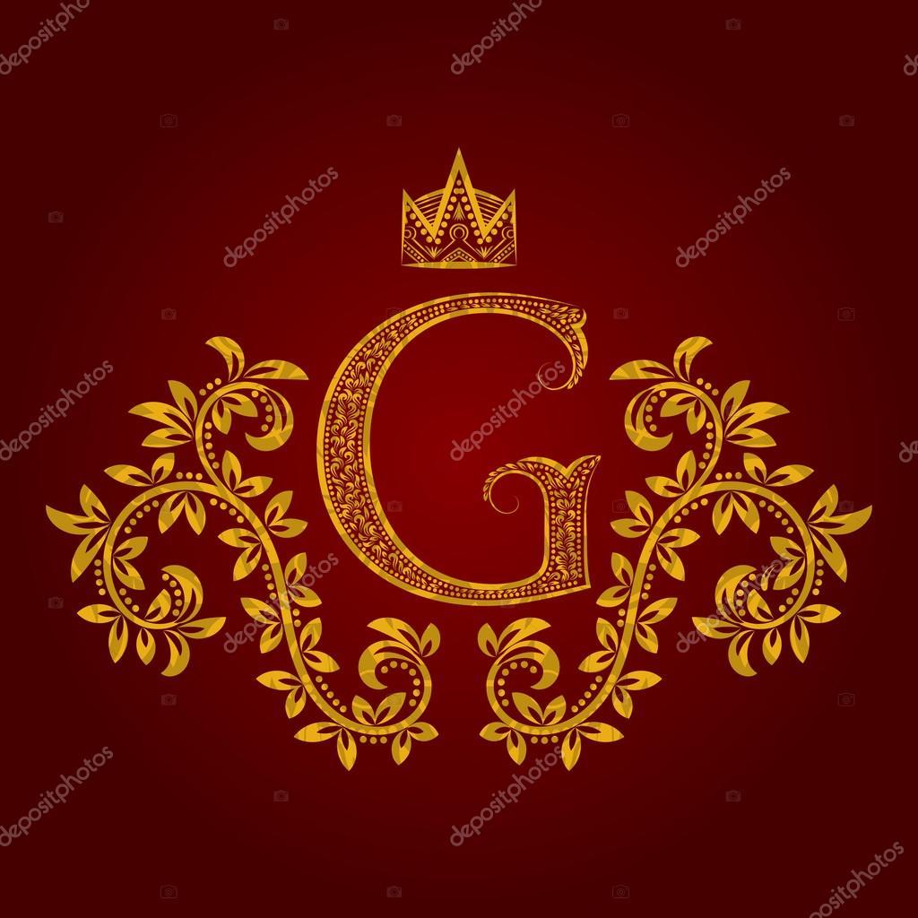 monograma letra dourada modelado g em estilo vintage  u2014 vetor de stock  u00a9 vectordivider  104073400