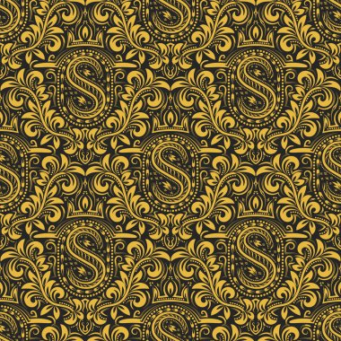 Damask seamless pattern repeating background. Gold black floral ornament with S letter and crown in baroque style. Antique golden repeatable wallpaper. stock vector