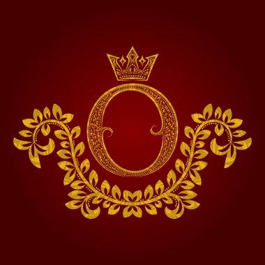 Patterned golden letter O monogram in vintage style