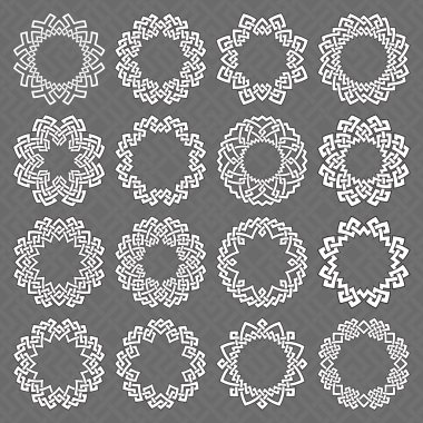Octagonal Mandalas collection of white lines with black strokes