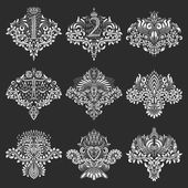 Fotografie Eingestellt von dekorativen Elementen für Design in Form von Wappen
