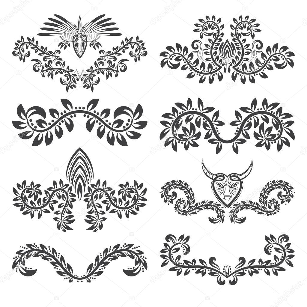 Elementi decorativi di design e insieme di contrassegni for Elementi di design