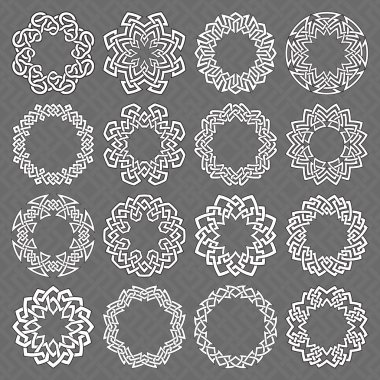 Sixteen circle octagonal decorative elements with stripes braiding