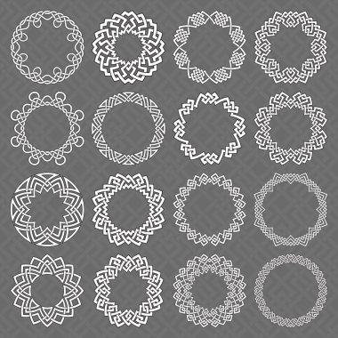 Sixteen circle octagonal decorative elements with stripes braiding