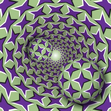 Two balls with a four pointed stars pattern are moving on rotating purple stars green funnel