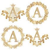 Fotografie Goldenen Buchstaben eines Jahrgangs Monogramme Satz. Heraldische Monogramm im Wappen und Runde Rahmen