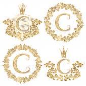Fotografie Goldenen Buchstaben C Vintage Monogramme festgelegt. Heraldische Monogramm im Wappen und Runde Rahmen